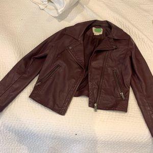 Anthropologie faux leather burgundy moto jacket